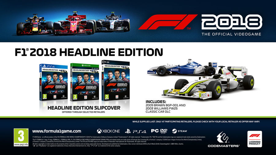 f1 2018 headline edition ps4 xb1 pc pelaaja shop. Black Bedroom Furniture Sets. Home Design Ideas